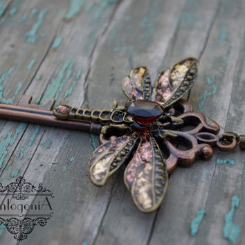 Garnet dragonfly winged steampunk key necklake ,statement pendant,garnet jewelry,Skeleton key,Fantasy pendant,Winged pendant,for giftOOAK