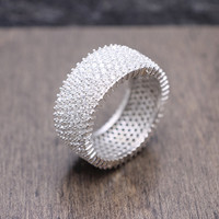 925 sterling silver 10 mm wide eternity engagement band ring with 7-row pave cubic zirconia statement