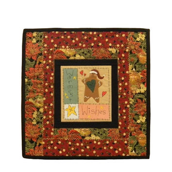 Christmas Gingerbread Man Embroidered Quilt Table Topper/Wall Hanging