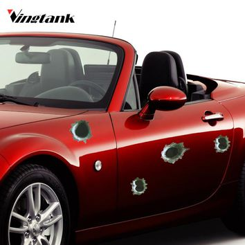 Vingtank Car Stickers Funny Decal Car-covers Accessories Graphics Auto Motorcycle Decoration Sticker 3D Bullet Hole Car Styling