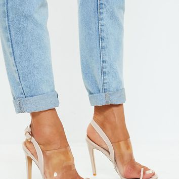Missguided - Nude Clear Strap Heeled Sandals