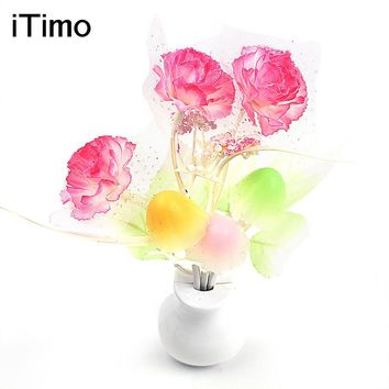 Colorful Nightlights Light Sensor LED Night Light Lamp US Plug Luminaria Lilac Home Bedroom Decoration Mushroom Flower Plant #KF