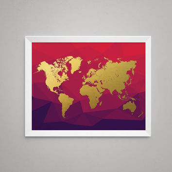 Best gold world map poster products on wanelo world map in digital gold foil on red print artwork poster gumiabroncs Gallery