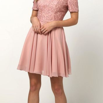 Rose Homecoming Short Dress with Cold-Shoulder
