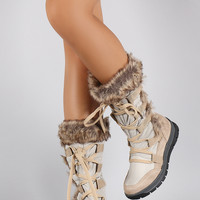Liliana Faux Fur Cuff Suede Lace Up Mid Calf Snow Boots