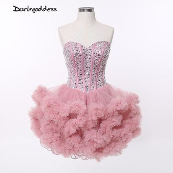Short Ball Gown Sexy Cocktail Dresses Cloud Corset Deep Pink Royal Blue Sleeveless Rhinestone Plus Size Puffy Party Dress 2017