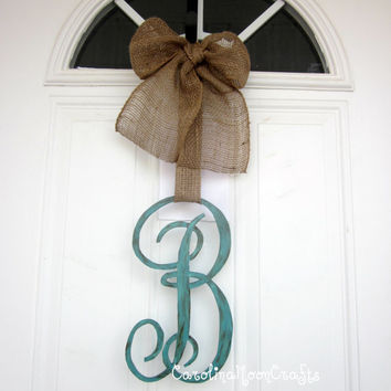Single Letter Monogram Wooden Door Decor  12 by CarolinaMoonCrafts