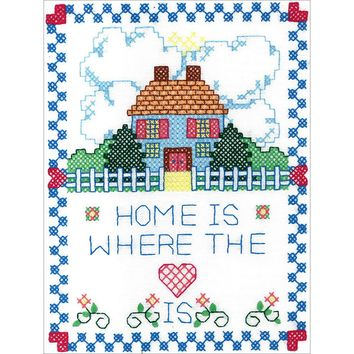 "Home Is Where The Heart It Bucilla Stamped Embroidery Kit 8""X10"""