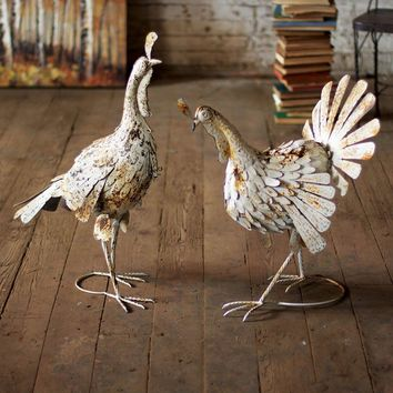 Antique White Metal Turkeys (Set of 2)