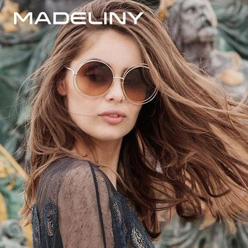 MADELINY Newest Fashion Carlina Round Wire-Frame Sunglasses 2016 New Vintage Fashion Sun Glasses Women Brand Designer MA164