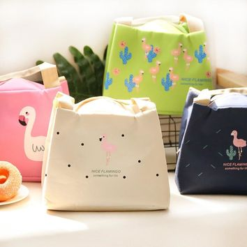PACGOTH Creative Warm Keeper Lunch Bags Big Storage Korean Style Cartoon Animal Prints Flamingo Pattern Portable Lunch Tote 1 PC