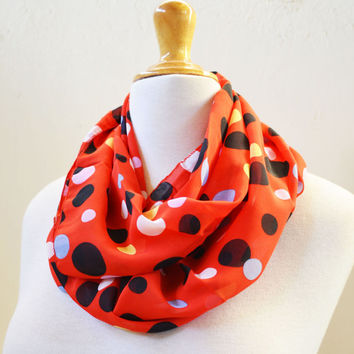 Womens infinity scarf RED with POLKA DOT pattern - shawl neckwarmer - accessories - loop