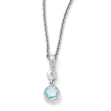 Blue Topaz and Diamond Necklace in Rhodium Plated Silver, 18-20 Inch