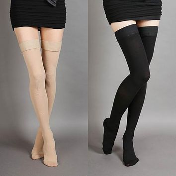 Black Beige Over The Knee Thigh Socks - Women High Socks