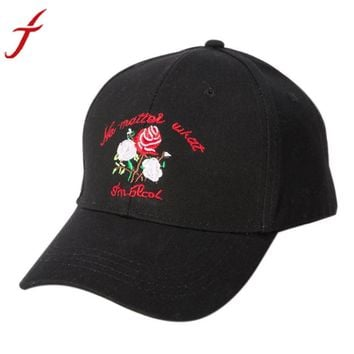 2017 Hot Rose Embroidery Baseball Cap  Men Women Peaked Hat Hip Hop Curved 3 Colors Unisex Snapback Adjustable Free Shipping