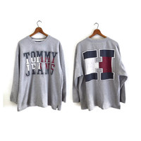 Vintage Tommy Hilfiger Jeans Sweater Large 1990s Gray 90s Vinyl Screenprint Logo Sweatshirt