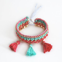 Mint and pink bohemian bracelet with tassel charms, ethnic bracelet, woven chain bracelet, neon bracelet