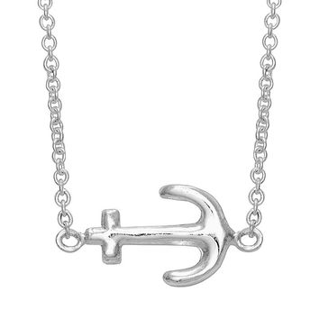 Itsy Bitsy Sterling Silver Sideways Anchor Necklace (Grey)