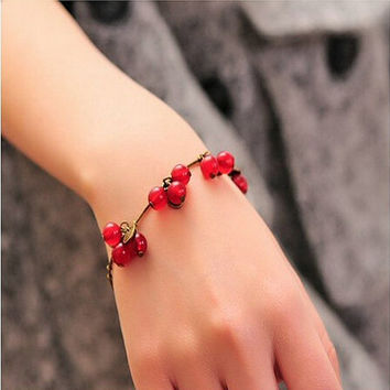 Cherry Bracelet. Red Berry and Leaf Bracelet. Multi bead vintage style bracelet. Cherries. Adjustable bracelet