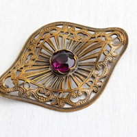 Vintage Amethyst Purple Glass Brooch - 1940s Art Deco Large Brass Filigree Statement Shield Costume Jewelry Pin
