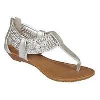 SM New York- -Women's Sandal Zirconia - Silver-Shoes-Juniors Shoes-Juniors Sandals