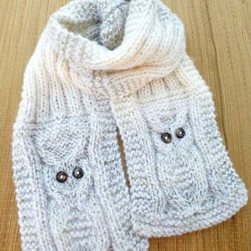 Women39s Knitting Scarf Handknit Owl From Giftspoint On
