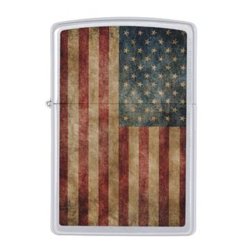 Vintage American Flag ZIPPO Chrome Pocket Lighter