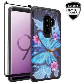 Samsung Galaxy S9 Plus Case, SM-G965U Case, [Include Temper Glass Screen Protector] Slim Hybrid Dual Layer [Shock Resistant] Case for Galaxy S9 Plus - Blue Butterfly