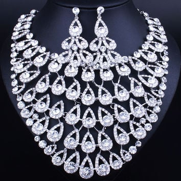 Luxury Full Crystal Rhinestones Big Peacock Tail Shape Necklace Earrings set Classic Indian Bridal Jewelry Sets