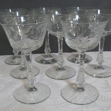 Vintage Champagne Glasses Libbey Rock Sharpe Dartelle Pattern Floral Cut Stem 300 Retro Barware Set of 8