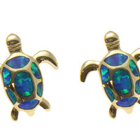 INLAY OPAL YELLOW GOLD PLATED SILVER 925 HAWAIIAN SEA TURTLE STUD EARRINGS SMALL