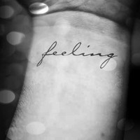 2pcs FEELING hand writing script temporary tattoo  - InknArt Temporary Tattoo -  script couple love gift wrist neck ankle