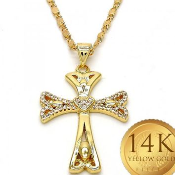 Gold Tone Women Cross Fancy Necklace, with White Micro Pave, by Folks Jewelry