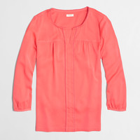 Factory peasant top with mini pom-pom trim : Blouses & Tees | J.Crew Factory