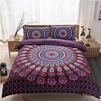 bohemian bedding sets boho style Queen Size 3pcs black white purple printing Duvet Cover set quilt cover Bed Linen