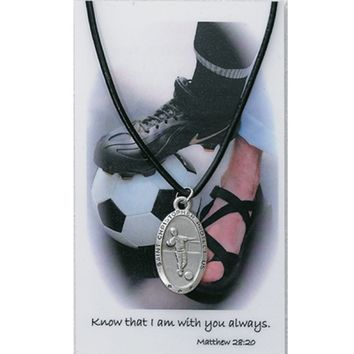 "BOYS SOCCER PRAYER CARD SET, PEWTER MEDAL WITH ADJUSTABLE 24""-36"" BLACK LEATHER CORD & LAMINATED HOLY CARD"