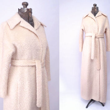 Vintage Cream Wool Coat Ivory Maxi Length Tie Belt Rappi Harry Allenfall Full Lenght Opera Evening Coat size M to L
