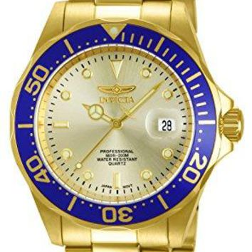 Invicta Pro Diver Gold Dial 18k Gold Ion-Plated Stainless Steel Watch