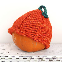 Pumpkin Baby Hat, Hand Knitted Toddler Beanie, Fall Baby Shower, Several Sizes Baby to Adult, Photo Prop, Hand Knit Baby Costume Accessory