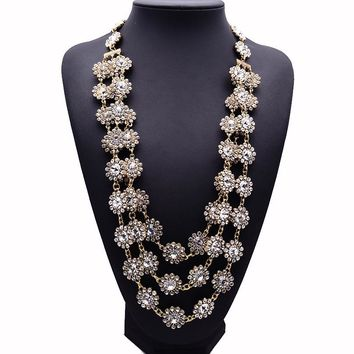 New Design XG220 High Quality Long Crystal Necklaces & Pendants Multi-layers Flower Statement Necklace Handwoven Jewelry