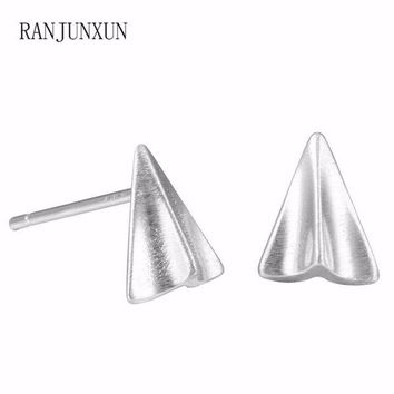 ac spbest RANJUNXUN 2017 Punk charm jewelry exquisite 925 sterling silver paper airplane earrings for woman gift earrings D19