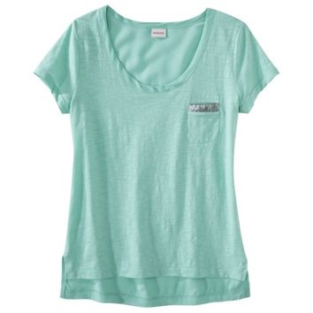 Merona® Women's Pocket Tee Shirt w/ Sequin -Tropic Green