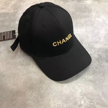 Chanel Embroidered Logo Baseball Cap Hat - Black