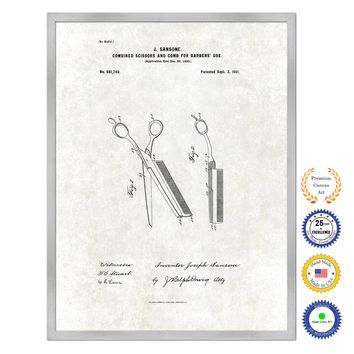 1901 Combined Scissors and Comb for Barbers Use Antique Patent Artwork Silver Framed Canvas Print Home Office Decor Great Gift for Barber Salon Hair Stylist