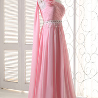 Pink One Shoulder Flower Ruffled Flounce Chiffon Maxi Dress