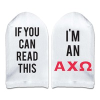 If You Can Read This... I'm an Alpha Chi Omega Sorority Socks Printed with Text on the Sole