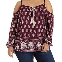 PLUS SIZE COLD SHOULDER TASSEL TIE PRINTED TOP