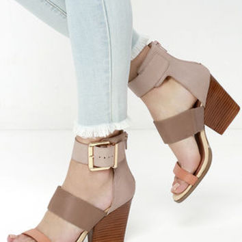 Very Volatile Serena Tan Multi Leather Heels