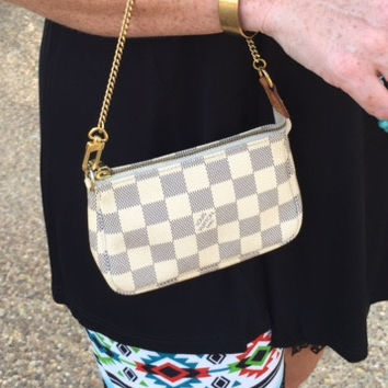 Authentic Used Louis Vuitton Mini Pochette Accessories Bag in Damier Azure with Dustcover