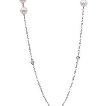 Crislu Sterling Silver Pearl and Crystal Station Necklace